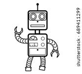 robot concept flat  line icon... | Shutterstock .eps vector #689411299