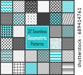 seamless geometric patterns set.... | Shutterstock .eps vector #689414761
