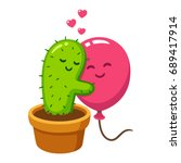 cute cartoon cactus and balloon ... | Shutterstock .eps vector #689417914