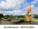 Small photo of Statue serpent Naga in the pool , Praya Nark or Naga in Thai, Praya Nark name of big snake or serpent dragon in the Public Temple at North of Thailand