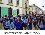 protestors marching in june... | Shutterstock . vector #689429299