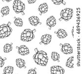 artichoke hand drawn vector... | Shutterstock .eps vector #689436925