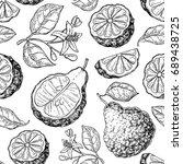 bergamot vector seamless... | Shutterstock .eps vector #689438725