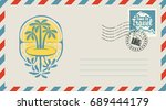 postal envelope with stamp and... | Shutterstock .eps vector #689444179