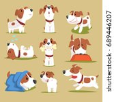 Stock vector funny puppy daily routine set cute little dog in his evereday activity colorful character 689446207