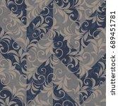 seamless damask pattern.... | Shutterstock .eps vector #689451781