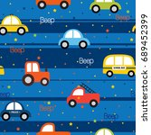 colorful toy vehicles seamless... | Shutterstock .eps vector #689452399