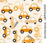 colorful toy vehicles seamless...   Shutterstock .eps vector #689452405