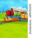 cartoon train scene on the... | Shutterstock . vector #689453254