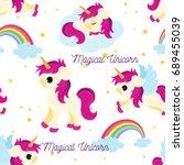cute unicorns seamless pattern  ...   Shutterstock .eps vector #689455039