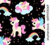 cute unicorns seamless pattern  ... | Shutterstock .eps vector #689455069