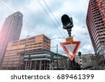 road sign give way and a... | Shutterstock . vector #689461399