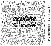 explore the world. positive... | Shutterstock .eps vector #689461759