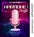 karaoke party invitation poster ...   Shutterstock .eps vector #689464009