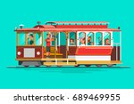 retro detailed vector cable car ... | Shutterstock .eps vector #689469955