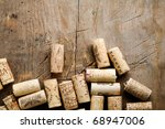 Bunch Of Wine Corks On Wooden...