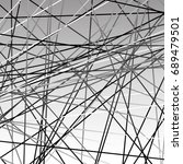 chaotic grayscale lines texture.... | Shutterstock . vector #689479501