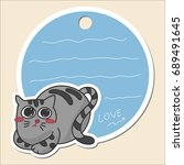 cute kitty cat tag banner or...