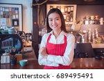 beautiful asian coffee shop... | Shutterstock . vector #689495491