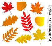 autumn leaves. set of autumn...   Shutterstock .eps vector #689500279
