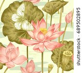 lotus  butterfly  water drawn... | Shutterstock . vector #689502895