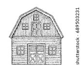 farming barn. farm house for... | Shutterstock .eps vector #689503231