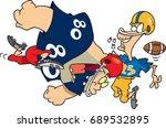 cartoon football player... | Shutterstock .eps vector #689532895