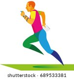 the red haired athlete with map ... | Shutterstock .eps vector #689533381