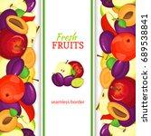 apple plum vertical seamless... | Shutterstock . vector #689538841