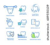 set of dental icons. teeth care ...   Shutterstock .eps vector #689550109
