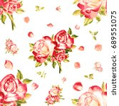 seamless watercolor pink roses... | Shutterstock . vector #689551075