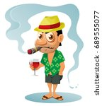 funny holiday maker with bad... | Shutterstock .eps vector #689555077