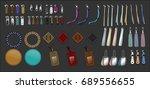 zipper pulls handbag... | Shutterstock .eps vector #689556655