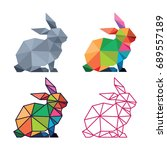 low poly logo icon symbol... | Shutterstock .eps vector #689557189