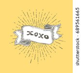 xoxo  xoxo text on vintage hand ... | Shutterstock . vector #689561665
