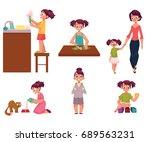 daily routine  little girl... | Shutterstock .eps vector #689563231