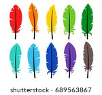 set of colored bird feathers  | Shutterstock .eps vector #689563867
