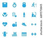 set of 16 fitness icons set... | Shutterstock .eps vector #689570845