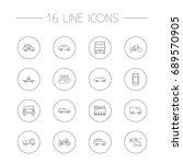set of 16 shipping outline... | Shutterstock .eps vector #689570905