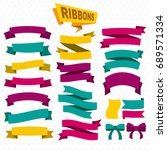 flat colorful blank ribbons... | Shutterstock .eps vector #689571334