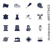 set of 16 sewing icons set... | Shutterstock .eps vector #689573425