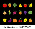 fruit berry vegetable face icon ... | Shutterstock . vector #689575009
