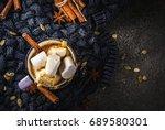 autumn and winter hot drinks.... | Shutterstock . vector #689580301