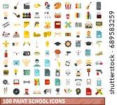 100 paint school icons set in... | Shutterstock . vector #689583259