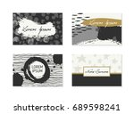 set of business cards with hand ... | Shutterstock .eps vector #689598241