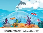 coral reef and underwater world ... | Shutterstock .eps vector #689602849