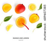 creative layout made of mango... | Shutterstock . vector #689607385