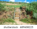 new stairway on a public beach. ... | Shutterstock . vector #689608225