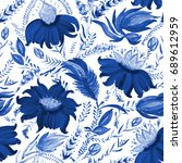abstract floral seamless... | Shutterstock . vector #689612959