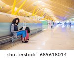 attractive woman at the airport ... | Shutterstock . vector #689618014